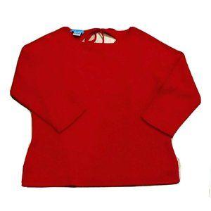 WHITE + WARREN 100% Cashmere Tie Back Red Sweater